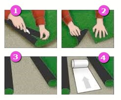 Kunstrasen-Verlegung Schritt 4: Vorbereiten des Verklebens